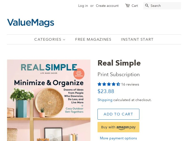 Real Simple Subscription (56% OFF!)