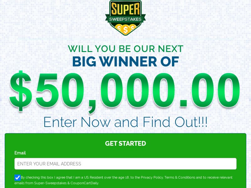 Super Sweepstakes [US] (Email,Social,Banner,Native,Push,SEO,Search,SMS) - CPL {CAPs}