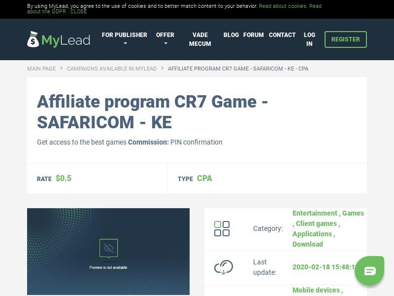 CR7 Game - SAFARICOM - KE (KE), [CPA], Entertainment, Games, Client games, Applications, Download, Confirm PIN, game, app, mobile, file, files, cpi