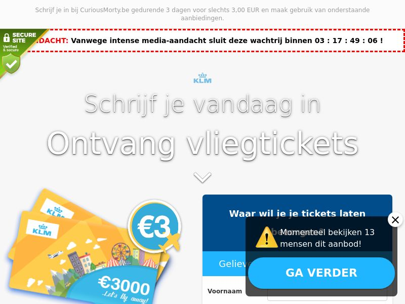 KLM - Plane tickets - BE