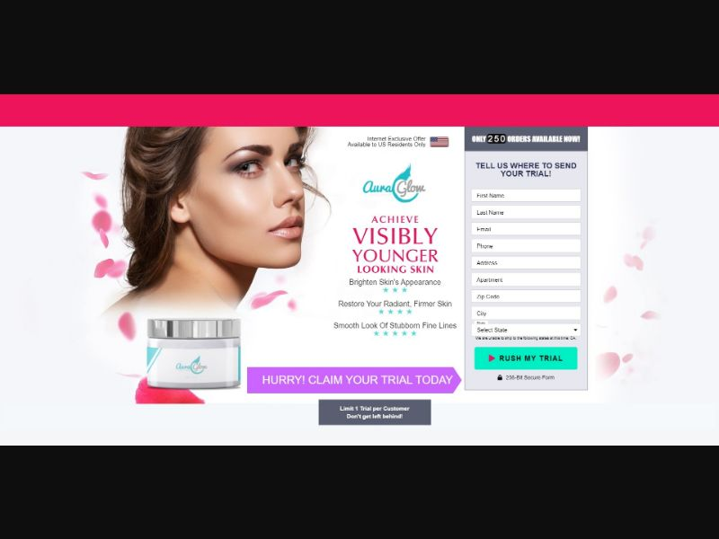 Aura Glow - Skin Care - Trial - [US] - with 1-Click Upsell [Step1 $22.1 / Upsell $22.1]