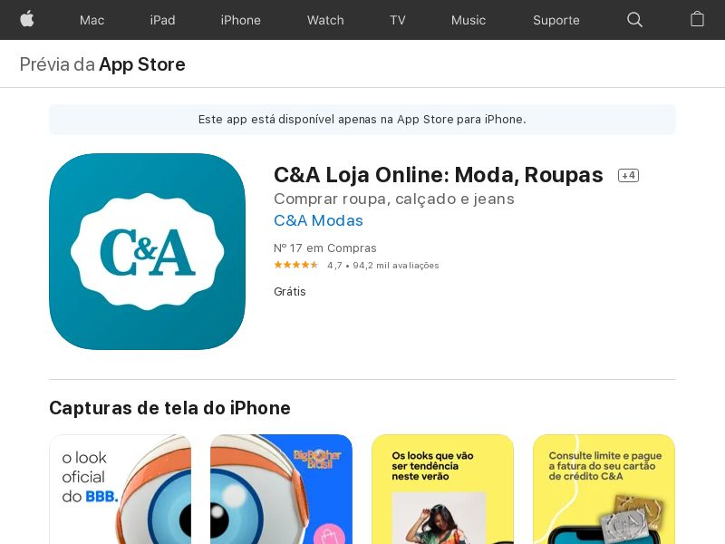 C&A Loja Online: Moda, Roupa - iOS - BR - NO INCENT