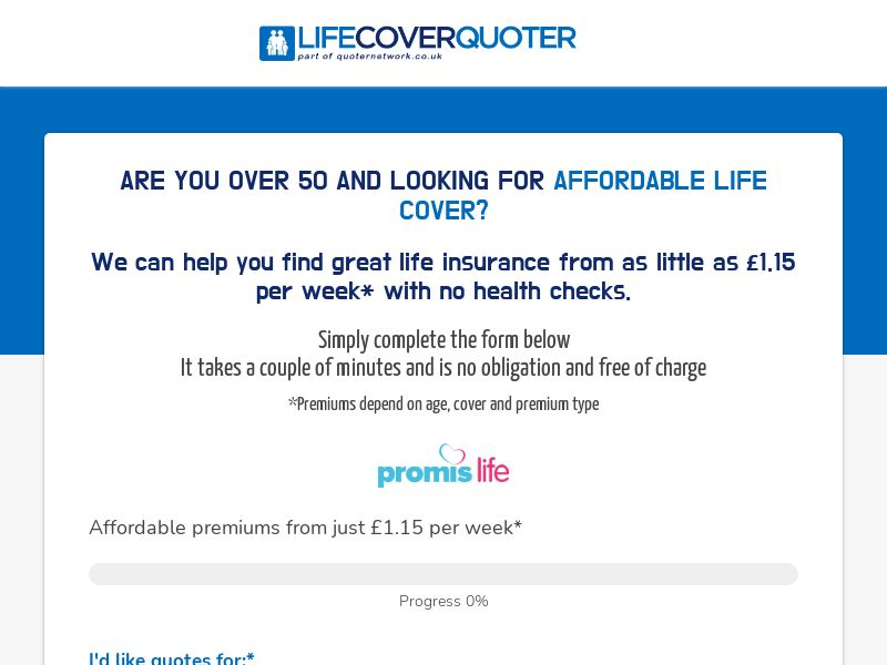 UK Life Cover Quoter 55+