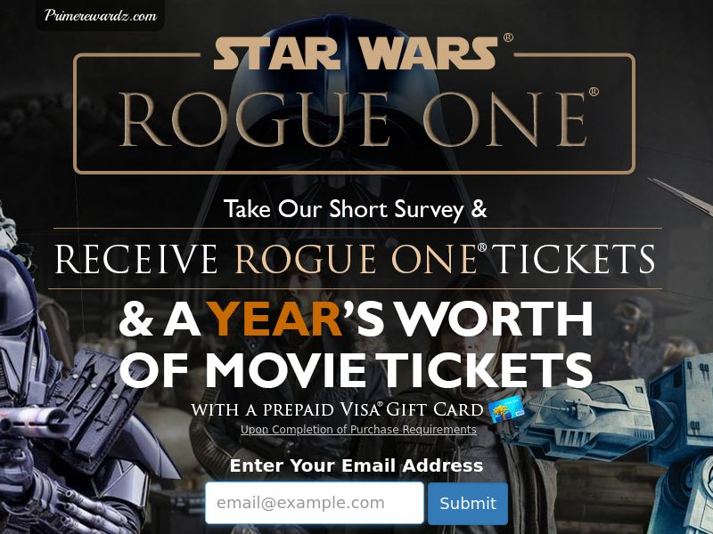Incent - Email Submit Star Wars Rogue One GC - US