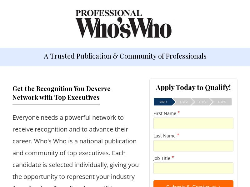 Professional Who's Who! - Community of Professionals [US] (Email Only) - CPL {Email Proof Required | Subid Approval Required}