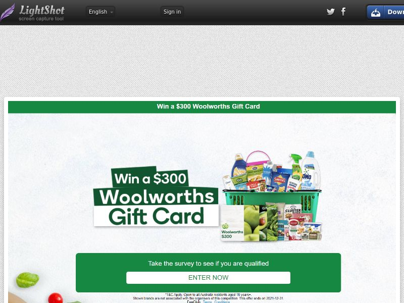 XlWin - Woolworths $300 Giftcard (AU) (CPL) (Personal Approval)