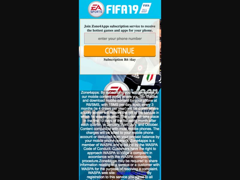 Fifa 19 - 1 click - SMS flow - ZA - CellC - Online Games - Mobile
