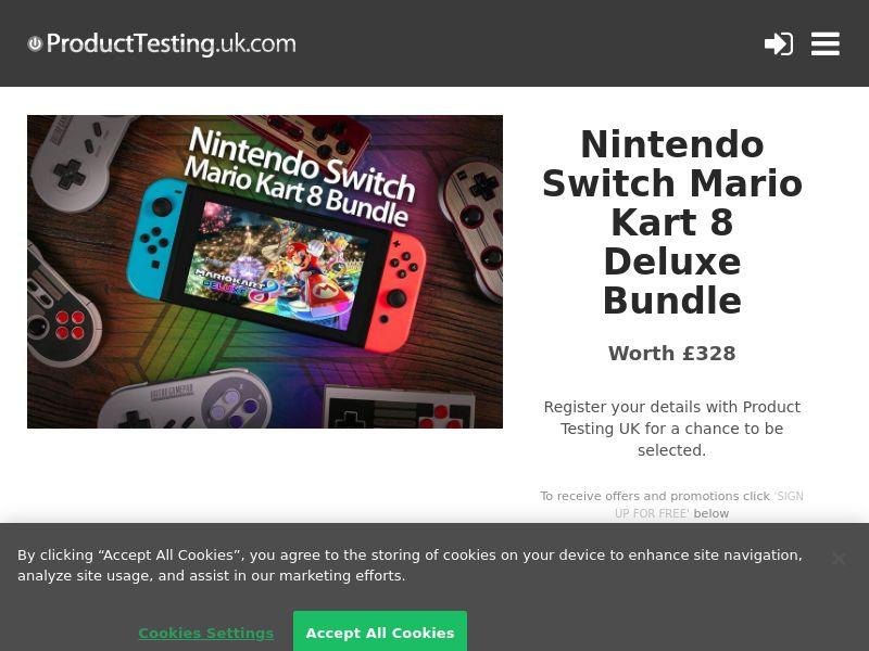 Product Testing - Test and Keep Nintendo Switch Mario Kart 8 Deluxe Bundle [UK]