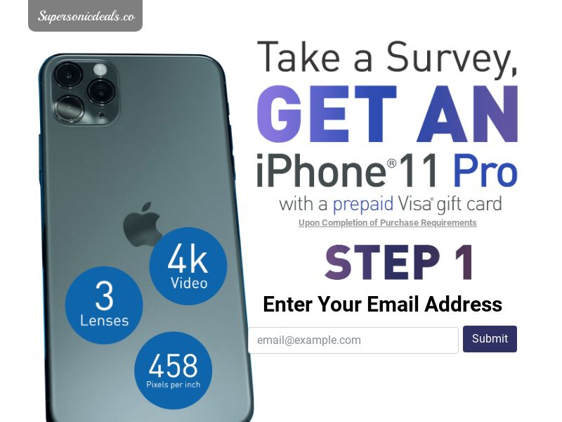 SuperSonicDeals iPhone 11 - Email Submit - Incent