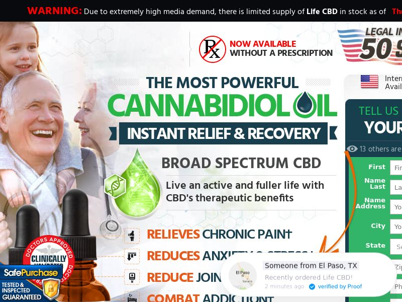 Life CBD (Trial w/1clickupsell) (US) (SURVEY and SMS ALLOWED)