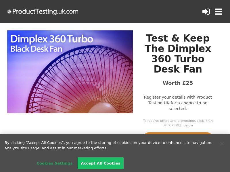 Product Testing - Test & Keep The Dimplex 360 Turbo Desk Fan [UK]