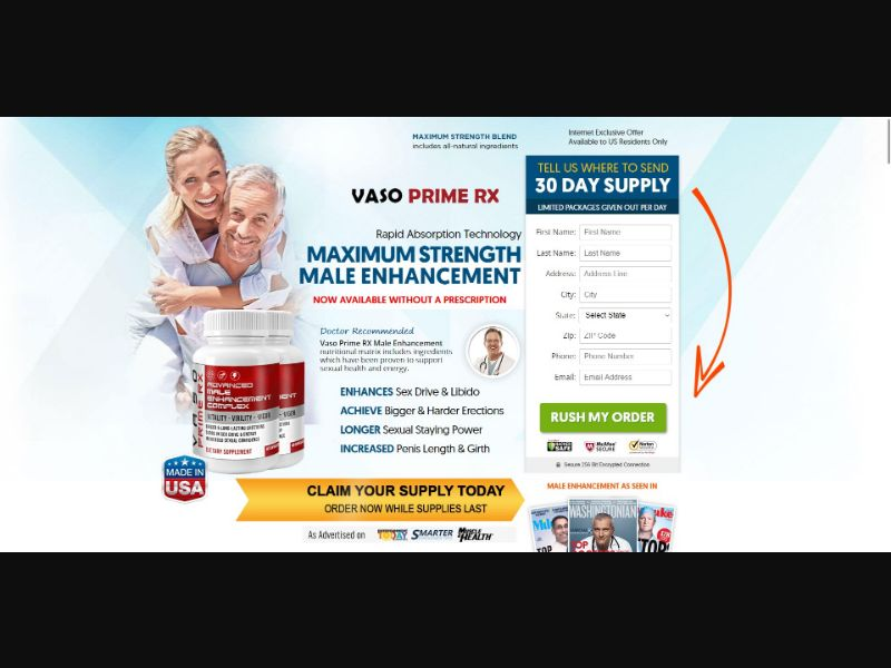 Vaso Prime RX Advanced Maile Enhancement Complex - Male Enhancement - Trial - [US] - with 1-Click Upsell [Step1 $24.50 / Upsell $24.50]