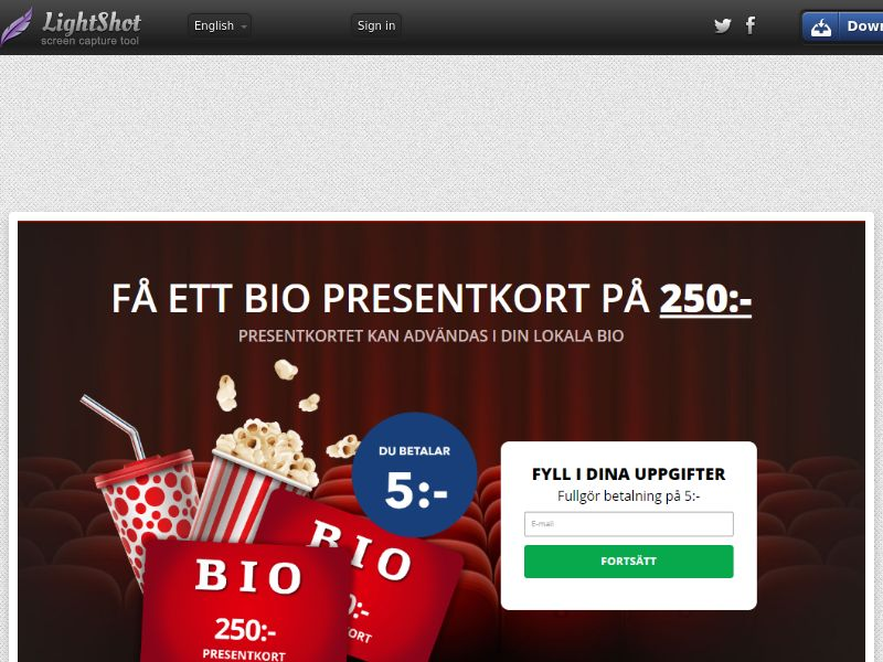 Cinema Giveaway (Sweepstake) (CC Trial) - Sweden [SE]