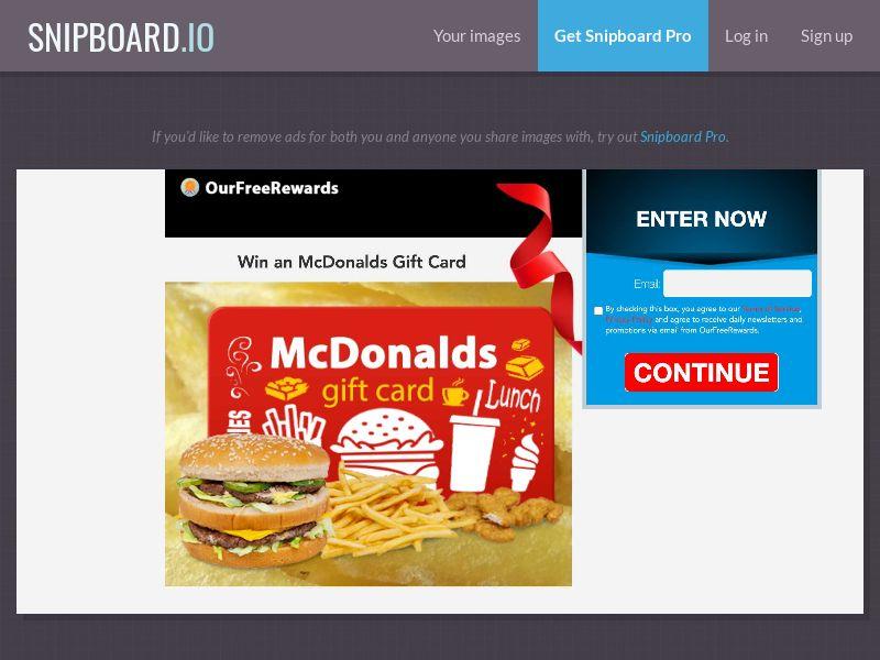40078 - US - OurFreeRewards.com - McDonald's Gift Card - SOI