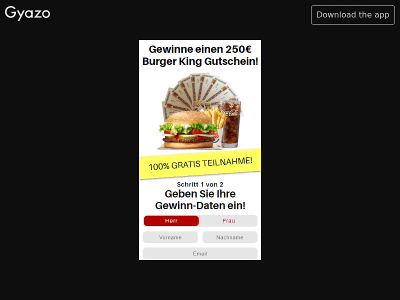Exklusive Burger King 250€ Voucher (DE) (CPL) (Personal Approval)