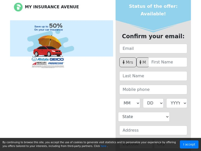 MyInsuranceAvenue - 50% Car Insurance - SOI - US