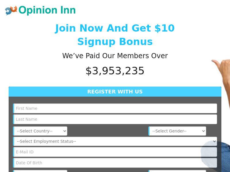 Opinion Inn - Get Paid To Take Surveys $10 Signup Bonus [US]