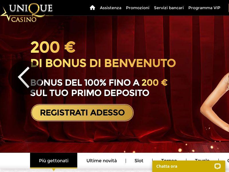 Unique Casino - $200 Welcome Bonus + 20 Free Spins - Italy [CPL]