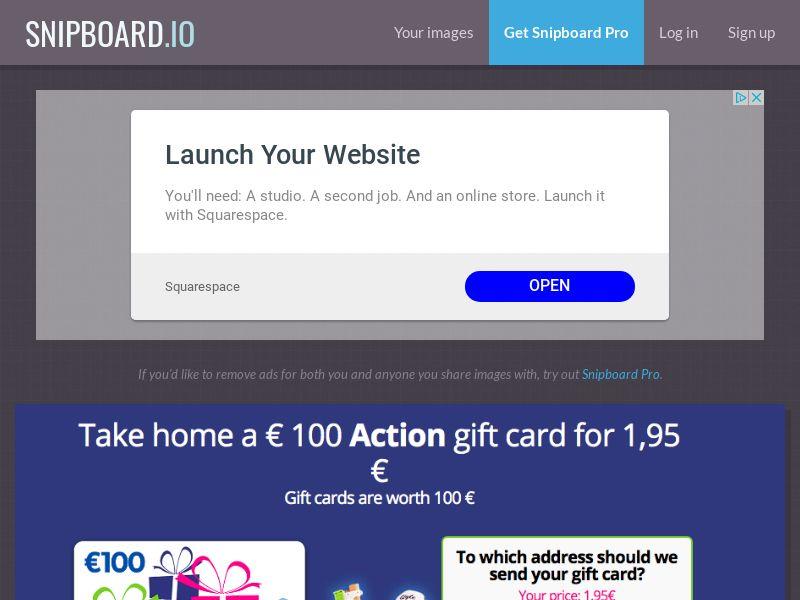 G33K Premium - Action Supermarket Giftcard FR - CC Submit