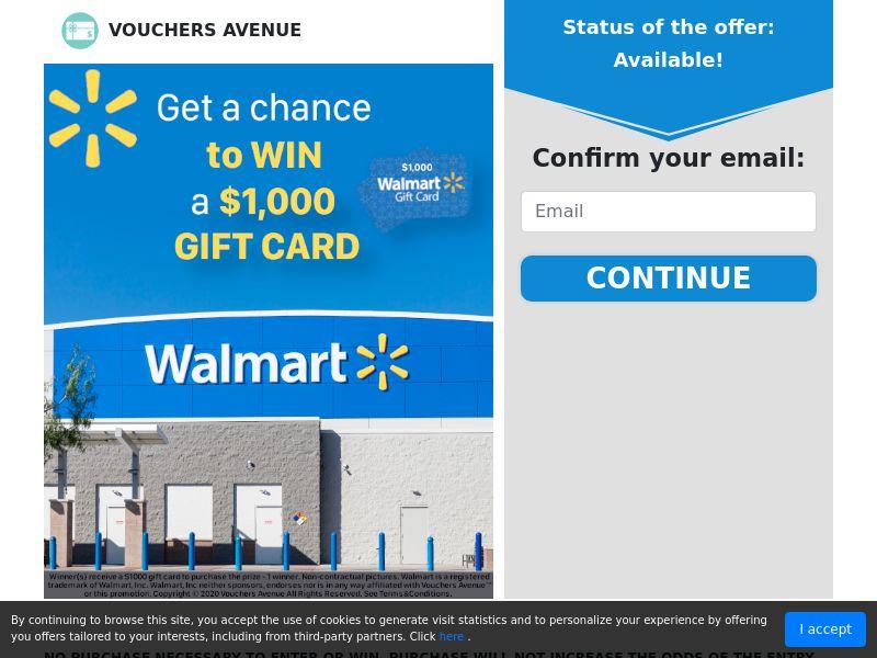 Vouchers Avenue - Walmart $1000 Gift Card   US