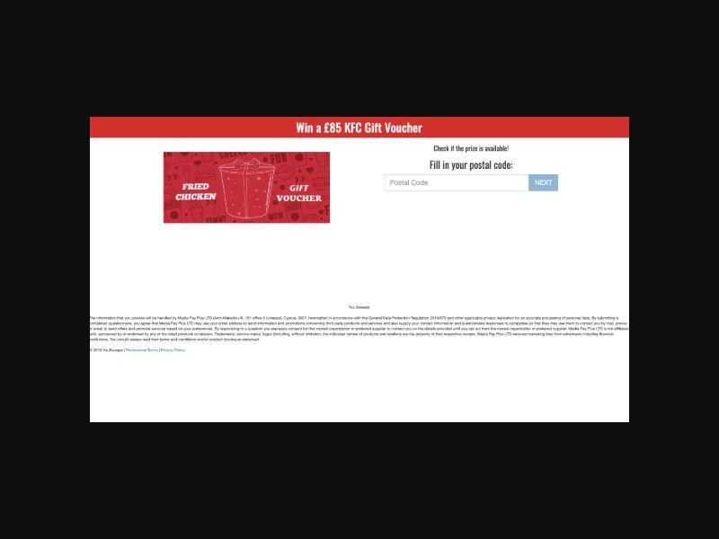 Surfeyo KFC Sweepstakes Gift Card (UK) SOI