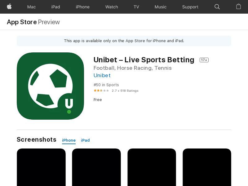 Unibet Live Sports Betting IOS UK