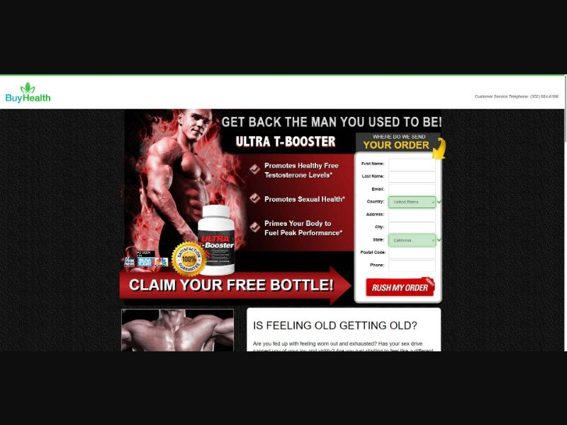 Ultra T Booster - Muscle Building - SS - [US] - with 1-Click Upsell [Step1 $38.25 / Upsell $34.00]