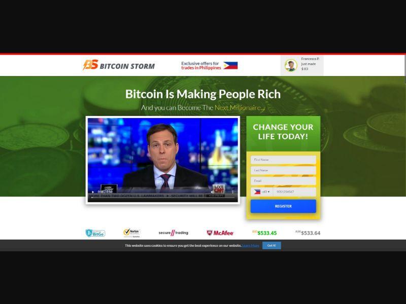 Bitcoin Storm - $250 min CTC - VSL - Crypto - SS - [50 GEOs]
