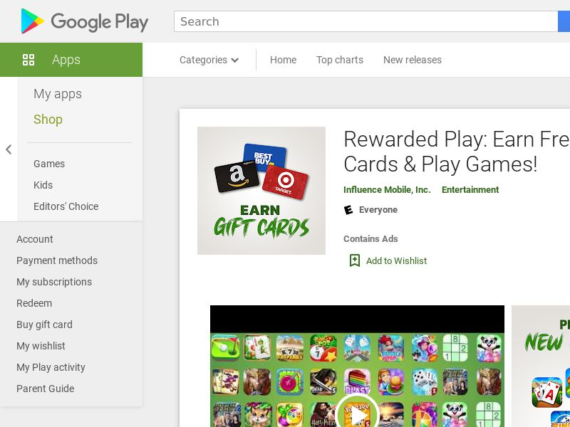 Rewarded Play: Earn Free Gift Cards & Play Games - Android (US) (CPE) (Incent) (Personal Approval)