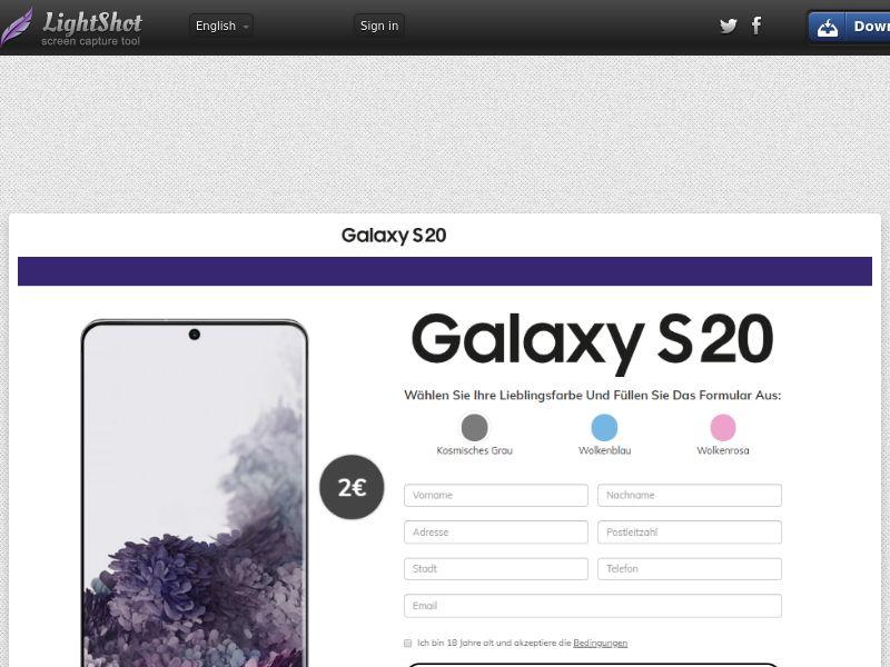 PremiumDeals Samsung Galaxy S20 v1 (Sweepstake) (CC Trial) - Germany [DE]