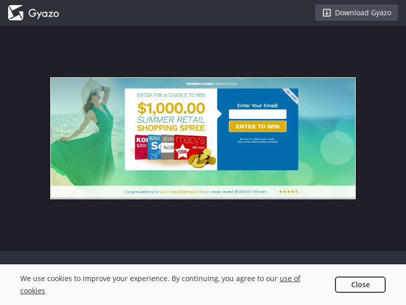 Sweepstakes a Month - Summer Shopping Spree $1000 US   Email Submit