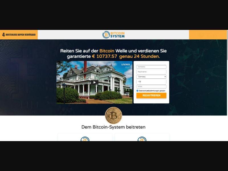 Bitcoin System - €200 min CTC - VSL - Crypto - SS - [DE]