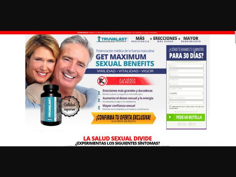 Truvalast - Male Enhancement - Trial - [ES] - with 1-Click Upsell [Step1 $20.8 / Upsell $19.5]