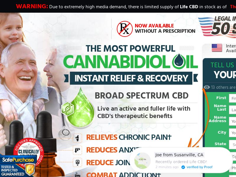 Upsell for Life CBD (Trial w/1clickupsell) (US) (SURVEY and SMS ALLOWED)