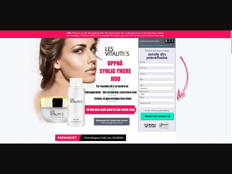 Les Vitalities - Skin Care - Trial - NO SEO - [NO] - with 1-Click Upsell [Step1 $34.00 / Upsell $32.30]