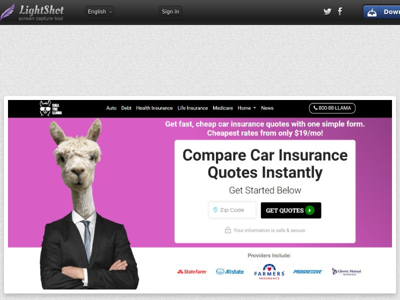 The Llama Auto Insurance (US) (CPL) (Personal Approval)