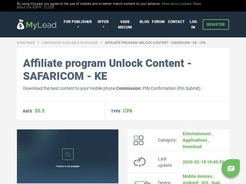 Unlock Content - SAFARICOM - KE (KE), [CPA], Entertainment, Applications, Download, Confirm PIN, app, mobile, file, files, cpi