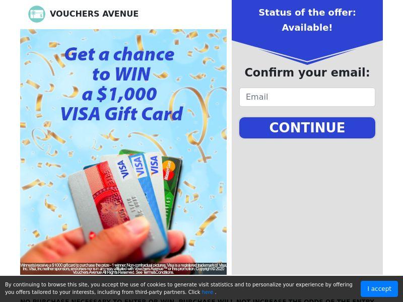 Vouchers Avenue - $1000 Visa Gift Card   US
