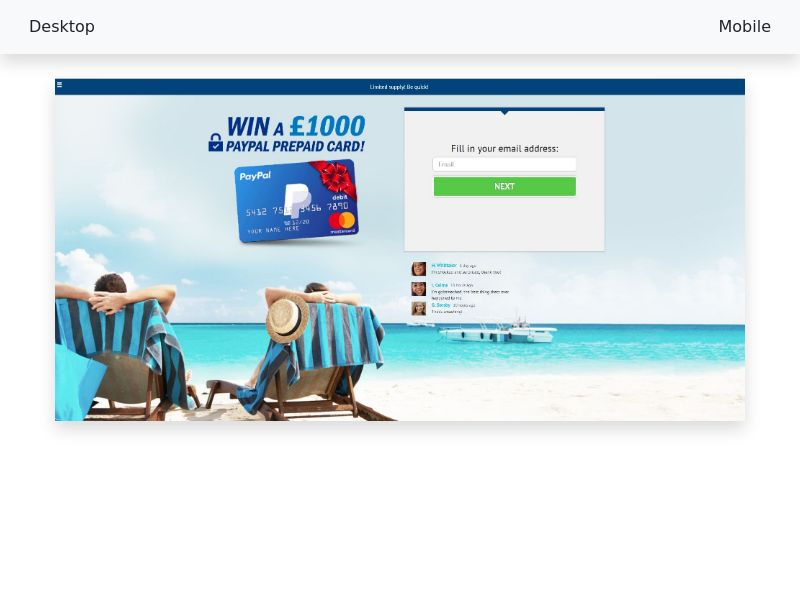 Sweepstake Win a Paypal gift card - CPL SOI - All devices - [UK]