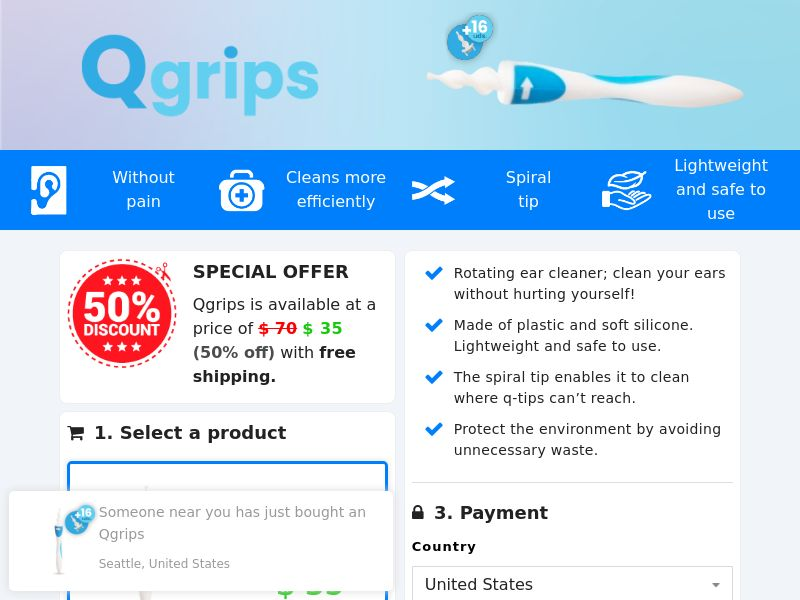 Qgrips - Ear Cleaner (PPS) - Ecommerce - WW