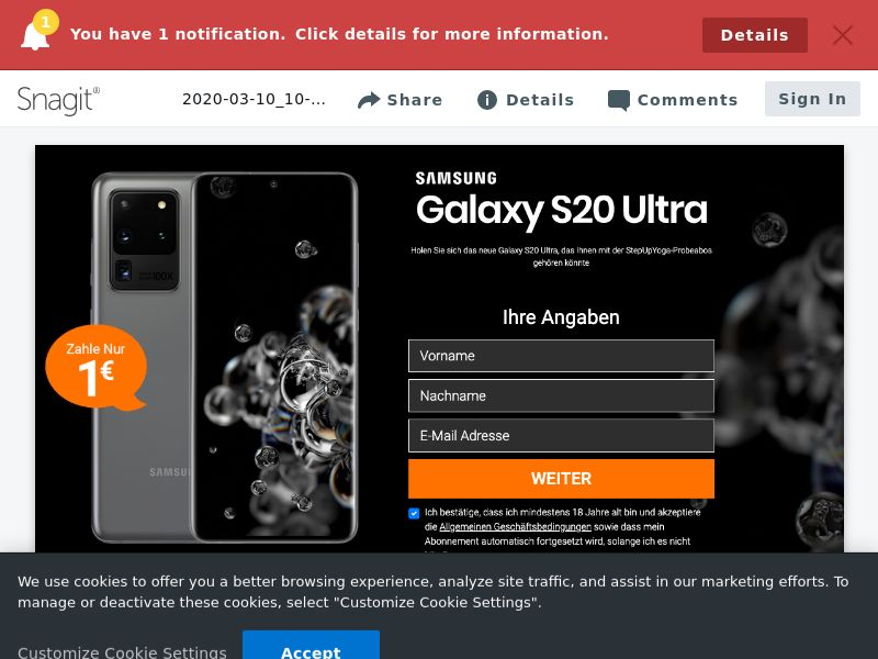 Samsung s20 Ultra - CC - DE (DE), [CPA], Lotteries and Contests, Credit Card Submit, paypal, survey, gift, gift card, free, amazon