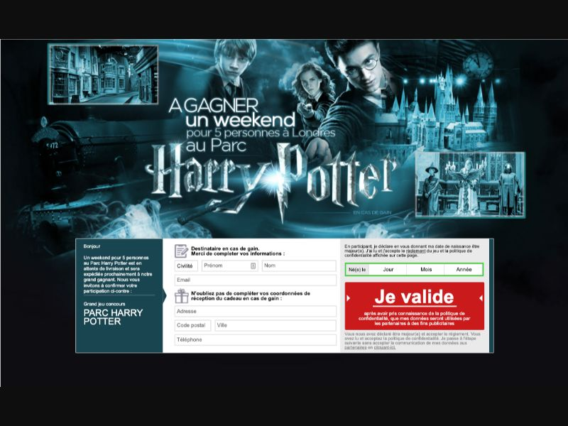 Parc HarryPotter - CPL SOI - FR - Sweepstakes - Responsive