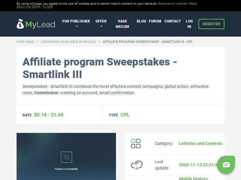 Sweepstakes - Smartlink III (MultiGeo), [CPL]