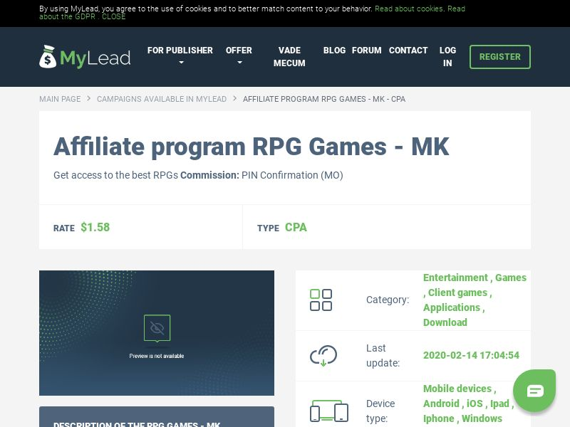 RPG Games - MK (MK), [CPA], Entertainment, Games, Client games, Applications, Download, Confirm PIN, Download, game, app, mobile, file, files, cpi