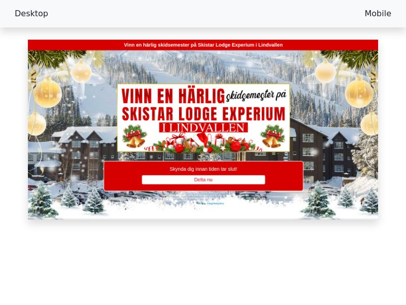 Win a Holiday at Skistar Lodge Experium in Lindvallen - CPL, SOI - SE