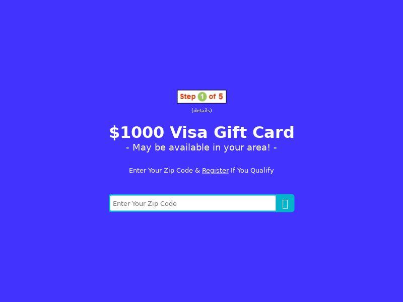 My Area Deals: $1000 Visa Gift Card