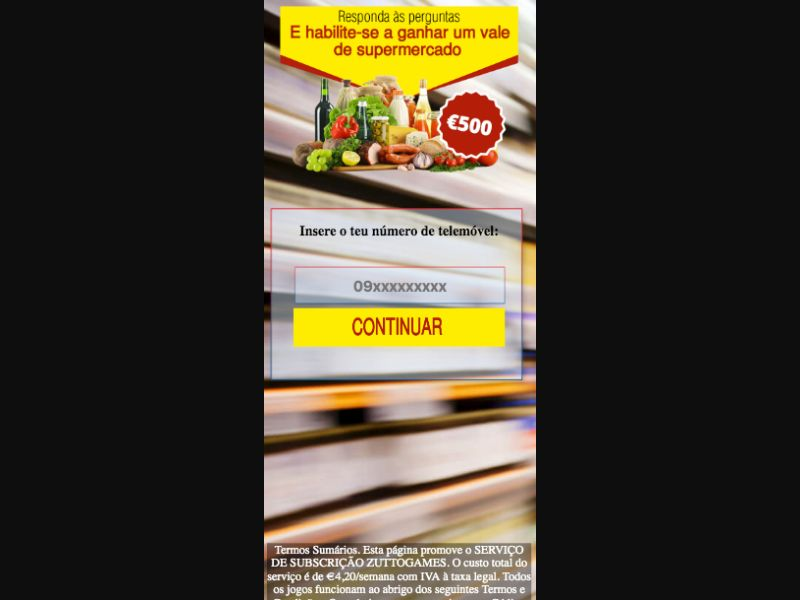 Supermarket Voucher-pin - SMS flow - PT - Sweepstakes - Mobile