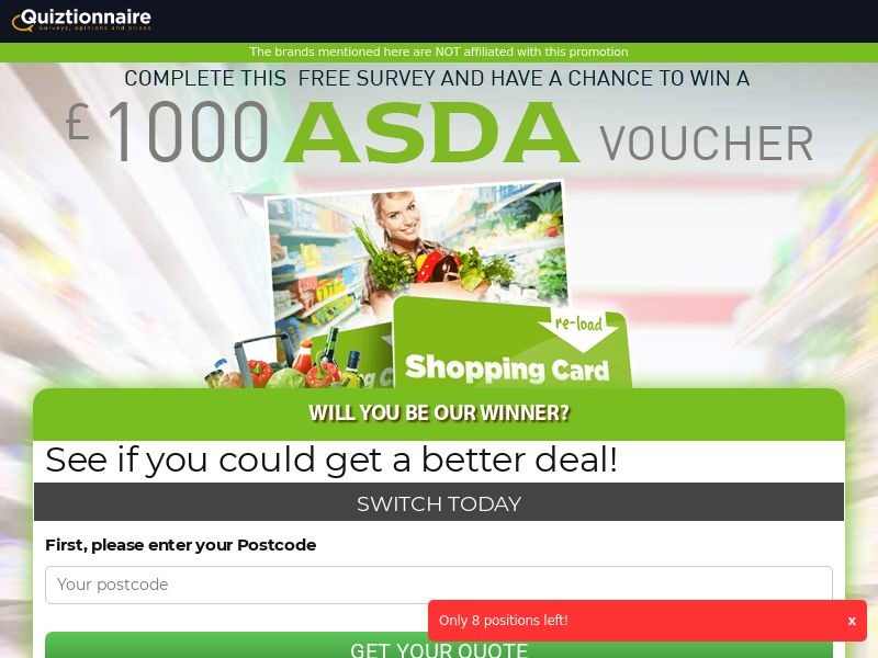 Quiztionnaire - ASDA Giftcard [UK] | SOI | Responsive