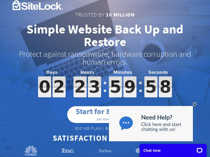 Simple Website Back Up - Starting at 83¢ a Month!   International