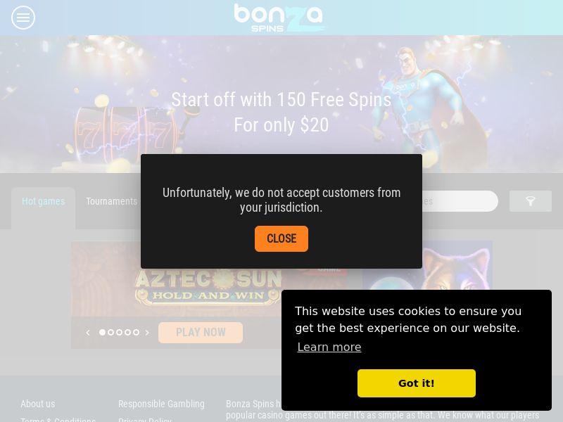 Bonza Spins 2 - 150 Free Spins - AU